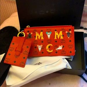 New MCM mouse and cheese clutch wristlet wallet.